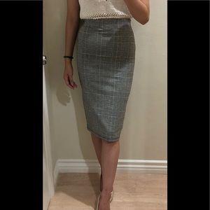 High Waisted Back Slit Houndstooth Pencil Skirt